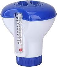 Dispensador Flotante de Cloro para Piscinas con Termómetro, Mini Dispensador Flotante de Productos Químicos para Piscinas Interiores y Exteriores, hasta 3 Soportes para Tabletas de Bromo