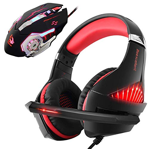 Gaming Headset and RGB Mouse Combo, Pro Gaming Headset for Xbox One, PS4, PC, Laptop with Mic, LED Over-Ear Headphone, 4000DPI Wired Ergonomic USB Gaming Mouse, 4 Adjustable DPI with 6 Button