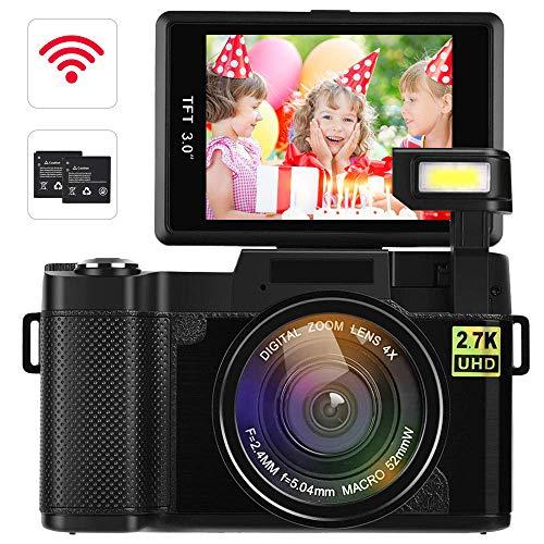 Digital Video Camcorder DIWUER 2.7K Ultra HD WiFi Vlogging Camera 24.0MP 3.0 Inch Flip Screen Camera Recorder with UV Lens, Flashlight and 2 Batteries