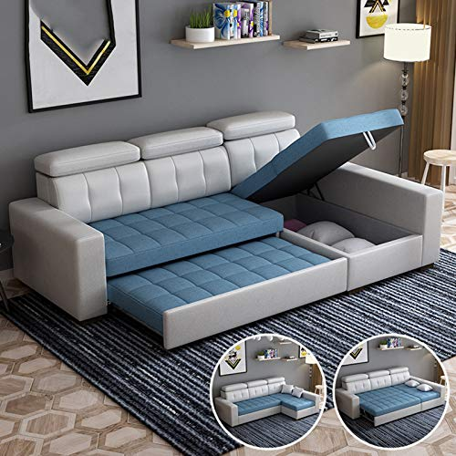 L- Shaped Corner Sofa Bed with Storage,3-Seat Pull-Out Futon Couch Recliner,Multifunctional Folding Sofa Bed with Wooden Legs,Comfortable Cushion for Living Room/Office,280CM