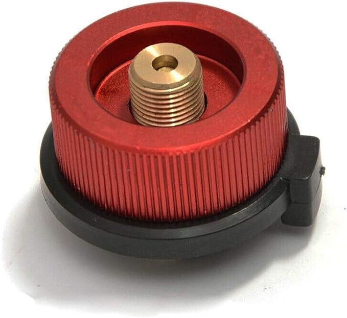 SENRISE - Adaptador de botella de gas para estufa de campamento, convertidor de horno dividido para bidón de butano a cartucho de gas de rosca, rojo