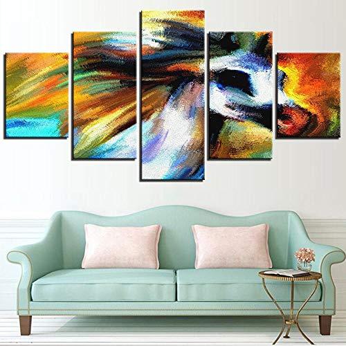 5 piezas de lienzo de unicornio pintura al óleo carteles de caballos fondos de pantalla de animales abstractos imágenes para la decoración de la tienda de la habitación del hogar decoración de arte