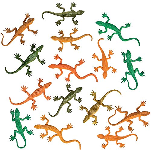 ArtCreativity Rainforest Lizards Figurines Toys Set, Pack of 24, Mini Plastic Realistic Looking Rain Forest Lizards Figures, Birthday Party Favors, Goodie Bag Fillers, for Boys and Girls