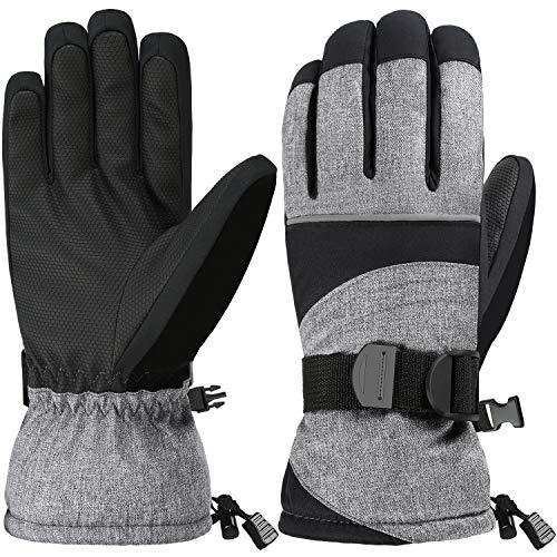 Andake 3M Thinsulate   Touchscreen wählbar   warm wasserdicht Winddicht rutschfest atmungsaktiv   Handschuhe Skihandschuhe Winterhandschuhe Thermohandschuhe Herren Männer, Grau, M