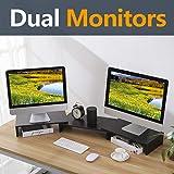 RFIVER Monitorständer 2 Monitore Erhöhung Bildschirmständer Laptopständer Büro Zubehör Schreibtisch Organizer Schwarz CM1009