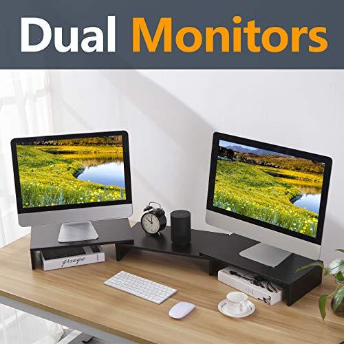 RFIVER 3er Set Monitorständer Monitor Erhöhung Bildschirmständer Laptopständer Büro Zubehör Schreibtisch Organizer Schwarz CM1009