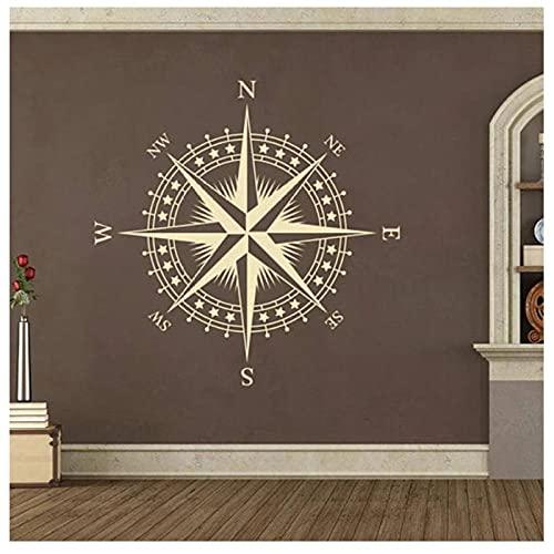 KBIASD Póster artístico pegatina de vinilo para pared brújula náutica rosa calcomanía extraíble para pared dormitorio sala de estar decoración del hogar 57x57 CM