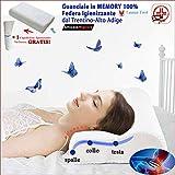 1 cuscino memory foam cervicale traspirante di alta qualità | offerta launen tirol + federa lavabile igienizzante | guanciale letto per dormire contro dolore al collo | (cm.70x40 h10-12) 1 ortopedico