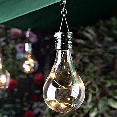 GSDCNV Solar-LED-Glühbirne - 6 Pack Wireless Solar Hängende Lichterkette IP44 Wasserdichte Gartenleuchten für Patio Home Wedding Pathway Party(warm White)