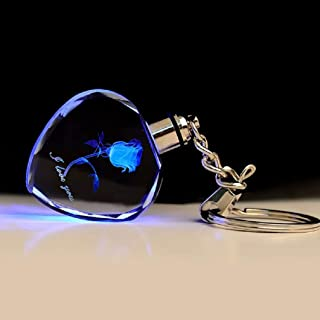 Laser Engraved Rose Crystal LED Light Key-chain-Various Colors (Blue)