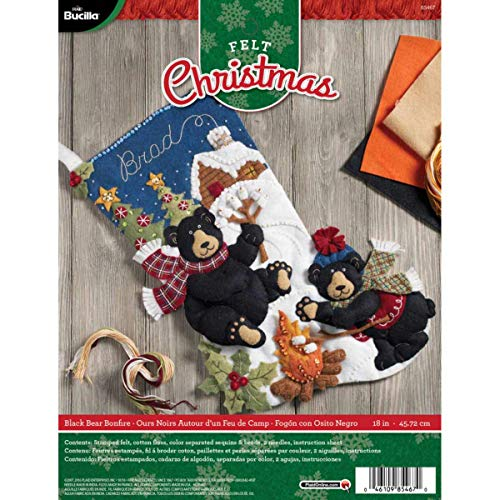 Bucilla 18-Inch Christmas Stocking Felt Appliqué Kit, 85467 Black Bear Bonfire
