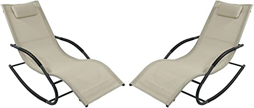 high quality Sunnydaze Outdoor Rocking Wave Lounger with 2021 Pillow, Patio and Lawn online sale Lounge Chair Rocker, Beige, Set of 2 outlet online sale