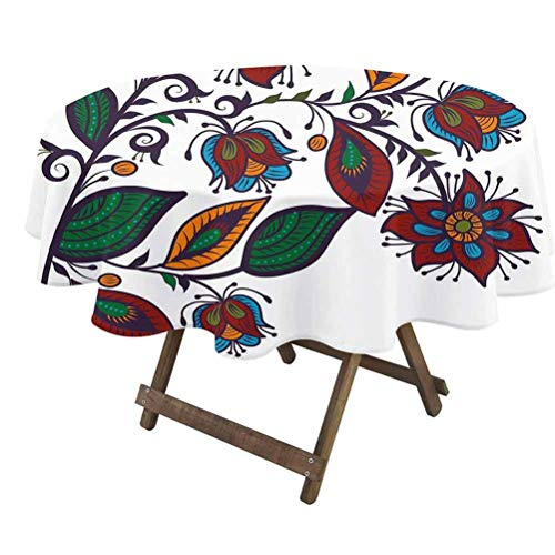 prunushome Vintage Round Table Cloth Slavic Russian Style Bellflowers Cultural Traditional Wildlife Garden Illustration for Dining Room Party Outdoor Picnic Multicolor   60' Round