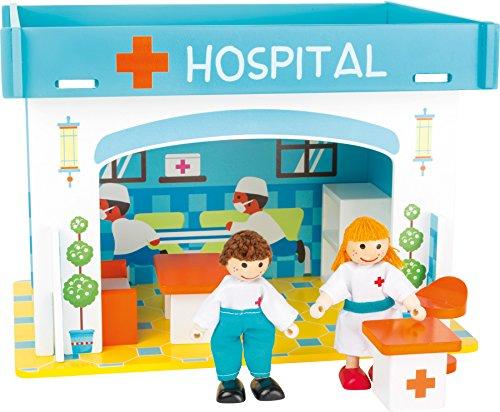 small foot 10857 Spielhaus Krankenhaus aus Holz zum Stecken, inkl. Möblierung, Biegepuppen und bunt aufgedruckter Einrichtung, kinderleichter Aufbau, kleines Puppenhaus geeignet für Kinder ab 3 Jahren