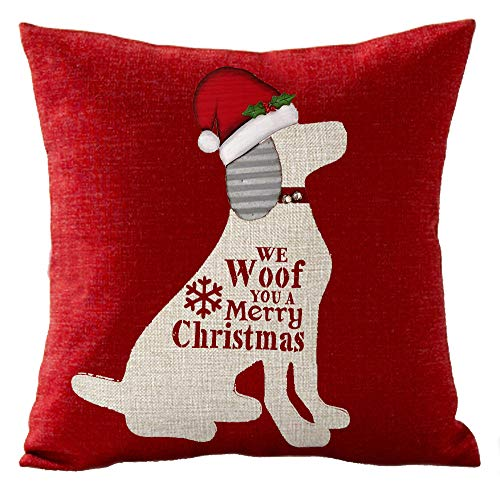 We Woof You A Merry Christmas Best Pet Dog Christmas Hat Cotton Linen Throw Pillow Covers Cushion Cover Decorative Sofa Bedroom Living Room Square 18 Inches (19)