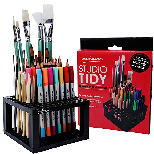 Mont Marte 96 Hole Plastic Pencil & Brush Holder for Paint Brushes, Pencils, Markers, Pens and Modeling Tools. Provides Excellent Art Studio Organization.