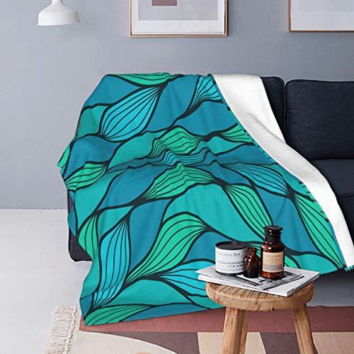 QINCO Suave Micro Lana Manta de Tiro Decor del Hogar,Diseño de Onda Abstracta Vida Marina temática del océano,Azul Verde Menta,Ligero Sofá Cama Edredón de Franela,50' x 60'