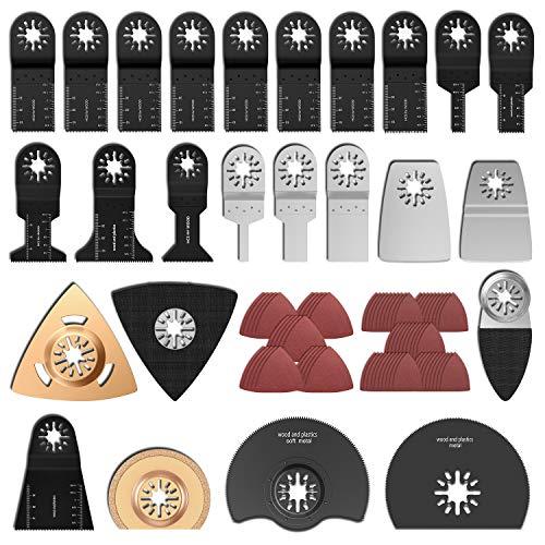 100Pcs outil multifonction lames de scie universelle, Accessoires outils oscillant multifonction, Lame de scie oscillantes pour Bosch Dewalt Makita Couper coins de Bois Carrelage Clou (100Pcs)