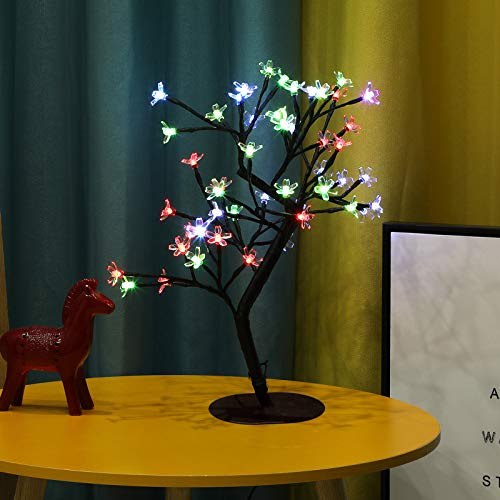 Bolylight Cherry Blossom Tree Lamp 1.5ft 40 LED Bonsai Tree Light 16 Lighting Mode Table Lamp, Remote Control for Home Party Festival Decoration