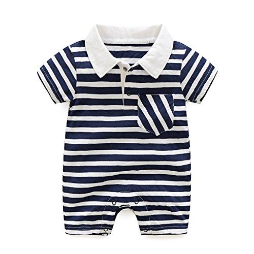 Bambino Pagliaccetto Neonato Cotone Jumpsuit Strisce Manica Corta Polo Body Tuta Bambino Tutina Estate Outfits, 0-3 Mesi
