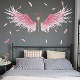 Gshy DIY pegatinas de pared de plumas de ángel rosa Ins etiqueta de la pared extraíble Decoración para habitación de niña pared