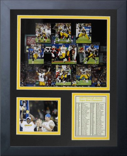 James Harrison NFL Double Framed Photograph Super Bowl XLIII 100 Yard Interception and Touchdown