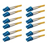 SpeedyFiberTX – 6-Pack 1 Meter LC to LC Fiber Patch Cable, Corning SMF-28 Singlemode 9/125um Ultra Optical Fiber(OS1/OS2 Compatible), Duplex, Yellow Riser OFNR Cable Jacket (1 Meter, 6 Pack)