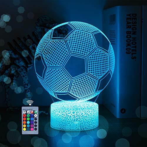 3D Fußball Nachtlicht für Kinder 3D Illusion Fußballlichter 16 LED Remote Farbwechsel Touch Table Schreibtischlampen Coole Geschenke für Jungen Fußballliebhaber zum Geburtstag (Fußball)