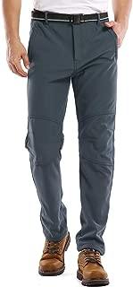 Men's Snow Pants, Fleece Lined Waterproof Windproof Ski Hiking Mountain Bottoms, Softshell Insulated Trousers