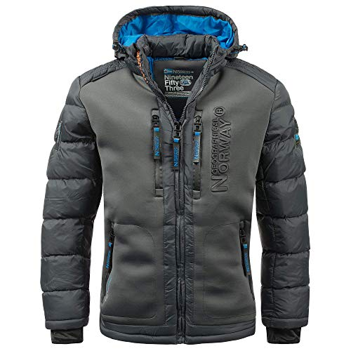 Geographical Norway Herren Winterjacke Beachwood Darkgrey - 7XL - mit UD Beanie