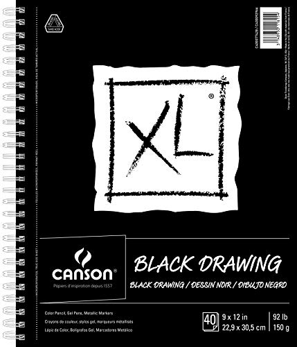Canson XL Series Black Drawing Paper for Pencil, Acrylic Marker, Opaque Inks, Gouache and Pastels, Side Wire, 92 Pound, 9 x 12 Inch, Black, 40 Sheets