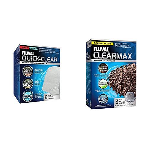Fluval Clearmax - Premium-Harz zur Entfernung von Phosphat, Nitrit und Nitrat & Feinfilterpads 6er-Pack für Fluval 304/305/306/404/405/406
