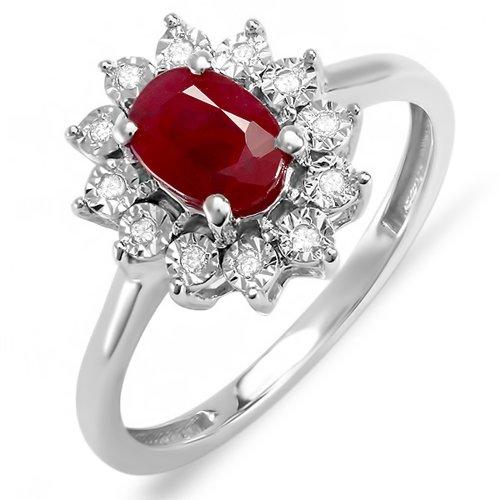 DazzlingRock Kate Middleton Diana Anillo de compromiso de oro blanco de 10 quilates con diamantes redondos reales ovalados de rubí rojo real (1,00 quilates, G-H, Si-I)
