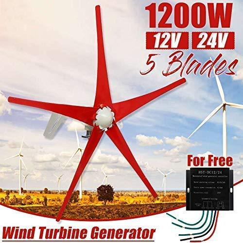 YUYUKUAILAI 12 / 24V 1200W del Viento generador de turbinas + Controlador de 5 Palas de aerogeneradores de energía Turbinas con Ajustar a Prueba de Agua Controller para el país o Acampar, 12v,24V