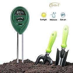 QUTAII Bodentester,3 in 1 Bodentester Boden-Feuchtigkeitsmesser Bodenmessgerät Feuchtigkeitsmesser,PH-Tester für Bauernhof,Pflanzen,Rasen, Garten, Kein Batterien Erforderlich (Nur für Boden)