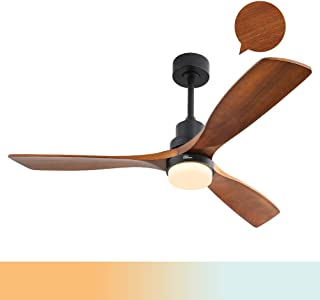 Sofucor Wood Ceiling Fan With Lights,3 Carved Wood Fan...
