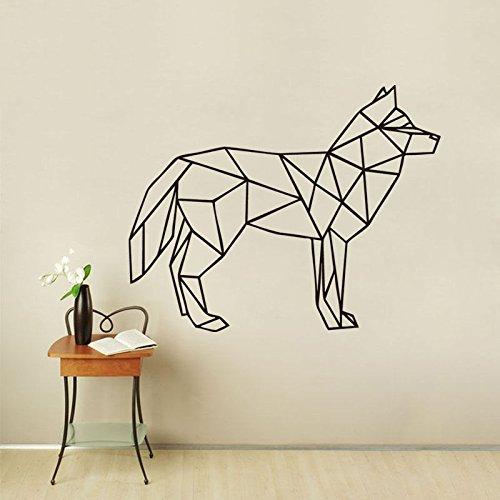 Tianpengyuanshuai Wolf Wand geometrische Tier Wolf Kunst Wandaufkleber abnehmbare kreative Vinyl Wandaufkleber dekorative Kunst 75X87cm