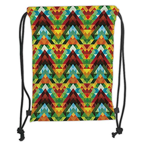 Fevthmii Drawstring Backpacks Bags,Colorful,Abstract Optic Effect Triangle Pattern Artsy Digital Vibrant Contemporary...
