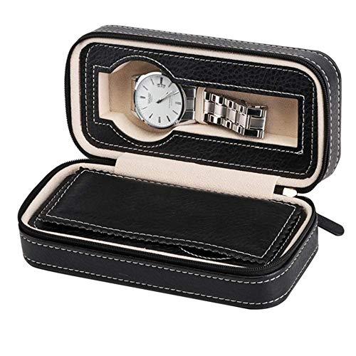 ZXy Caja de Almacenamiento de Reloj con Cremallera de Cuero de Bo Cajas de Almacenamiento de 2 Ranuras para Reloj Clásico/Marrón / 17.5 * 8.5 * 5.6cm