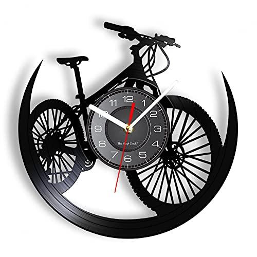 Wwbqcl Carretera Bicicleta de montaña Disco de Vinilo Reloj de Pared Reloj de Pared Decoración de Ciclismo Eventos Deportivos Bicicleta Hombre Reloj de Cueva Ciclista de montaña Regalo sin LED