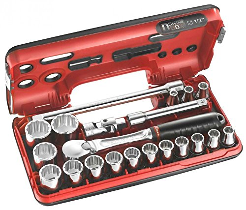 FACOM Werkzeugsortiment1/2 Zoll, im Kompakten Kasten, 12 Kant Steckschlüssel, 21 Teilig, 1 Stück, SL.DBOX112