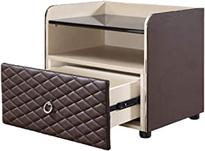 Bedside Table Bedside Table- Leather Nightstand Simple Modern Fashion Master Bedroom Mini Provincial Space Multi-Function ...