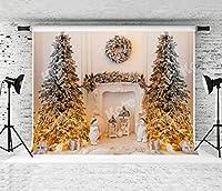 Kate 7x5フィート クリスマス インテリア 写真用背景幕 家族のポートレート背景 パーティー装飾 写真背景