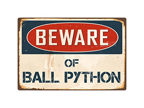 "StickerPirate Beware of Ball Python 8"" x 12"" Vintage Aluminum Retro Metal Sign VS035"