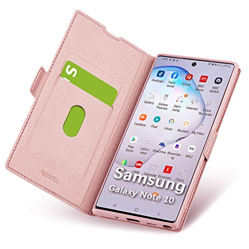 Funda Samsung Galaxy Note 10, Funda Note10, Samsung Note10 Funda, Carcasa Note10 con Cierre Magnético, Tarjetero y Suporte, Cubierta Plegable Cartera, Flip Cover Case, Étui Piel Protección. Oro Rosa