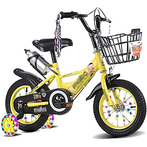 GBX Bike,Scooter,2-11 Year Old Kids Bike High Carbon Steel Frame12/14/16/18 inch Anti-Skid Tire with Training Wheels Baby Balance Bike,Yellow,16Inch,14Inch