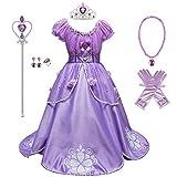 FMYFWY Costume da Principessa Sofia Rapunzel Carnevale Costumi Ragazze Natale Halloween Cosplay Vestito di Compleanno Comunione Cerimonia Pageant Festa Nozze Battesimo Abiti con Accessori 6-7