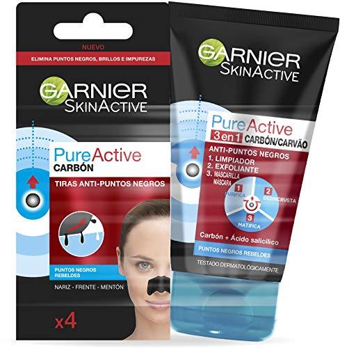 Garnier Skin Active Kit Pure Active Anti Puntos Negros: Gel Limpiador de poros y Exfoliante Facial 3 en 1 + Tiras Anti Puntos Negros limpiador de poros - 220 g