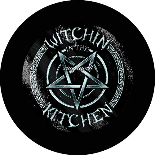 Jimoon Witchin In The Kitchen - Tabla de cortar de cristal circular (lata), diseño de bruja