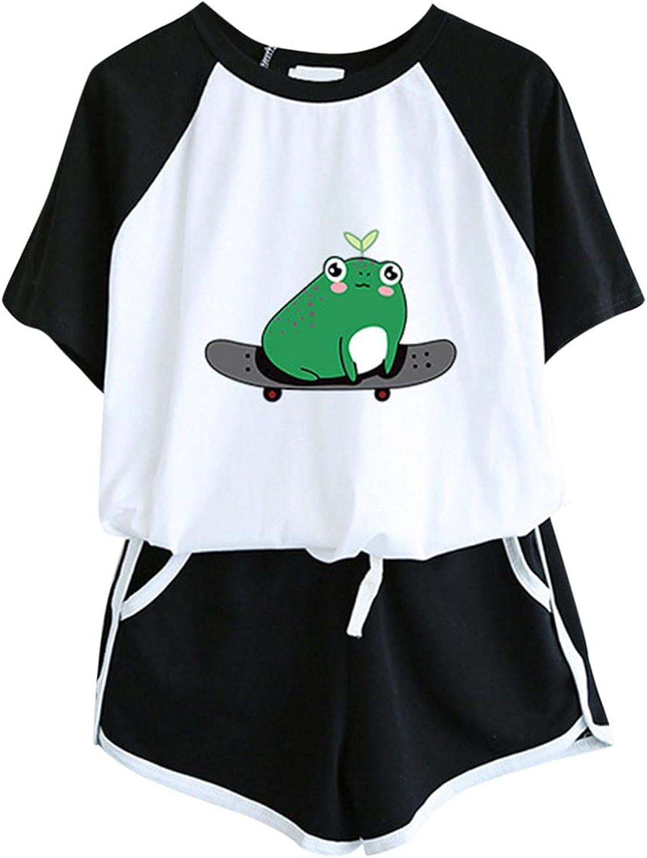 Kcocoo Women's Sleepwear Set Print Tunics Tops and Elastic Waist Drawstring Shorts 2 Piece Outfits Athletic Soft Pajama Set